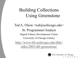 Building Collections Using Greenstone