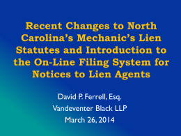 Mechanics' Lien Agent & NCLTA Forms Update