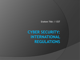 Cyber Security: International regulations
