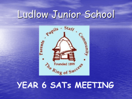 Aims of the meeting: - Ludlow Junior School