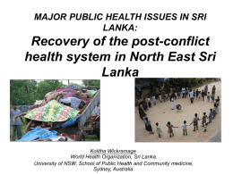 MAJOR PUBLIC HEALTH ISSUES IN SRI LANKA: Recovery of …