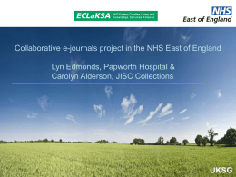 Collaborative e-journals project in the NHS East of England