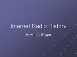 Internet Radio History - T&T Software WWW Server