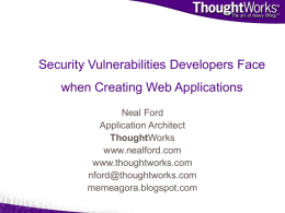 Top 10 Security Vulnerabilities Developing Web Applications