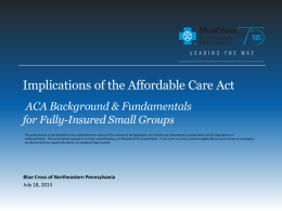 Implications of the Affordable Care Act