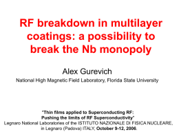 RF breakdown in multilayer coatings: a possibility to