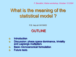 STATISTICAL AND THERMAL EQUILIBRIUM MODELS