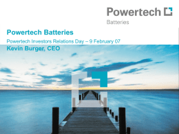 Powertech Batteries Powertech Investors Relations Day – 9