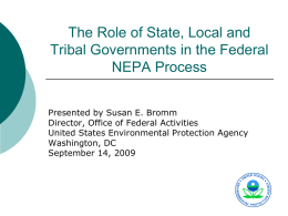 The Role of Local, State and Tribal Governments in the