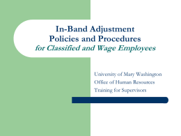In-Band Adjustment Policies and Procedures for classified