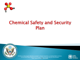 Chemical Safety and Security Plan - CSP