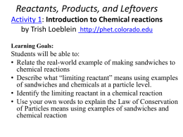 Reactants, Products, and Leftovers Activity 1
