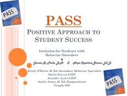 PASS Positive Approach to Student Success