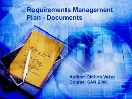 Requirements Management Plan
