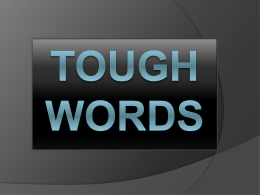 Tough Words - O'Neal Church of Christ