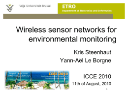 Wireless sensor networks for environmental monitoring