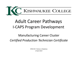 Kishwaukee College I-CAPS Program Development