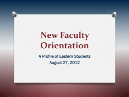 New Faculty Orientation - Eastern Connecticut State University