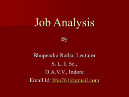 Topic #3: Job Analysis - Devi Ahilya Vishwavidyalaya