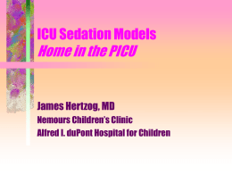 ICU Sedation Models - Dartmouth–Hitchcock Medical Center