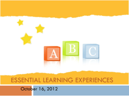 Essential Learning Experiences