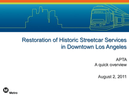 Restoration of Historic Streetcar Services in Downtown Los