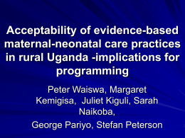 Acceptability of evidence-based maternal