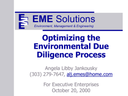Optimizing the Environmental Due Diligence Process