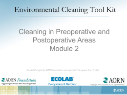 Cleaning in Preoperative and Postoperative Areas