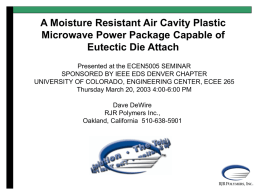 A Moisture Resistant Air Cavity Plastic Microwave