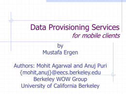 Data Provisioning Services for mobile clients