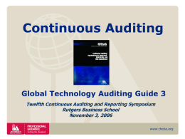 Continuous Auditing - Rutgers Accounting Web | RAW