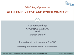 FC&S Legal presents: ALL'S FAIR IN LOVE AND CYBER …