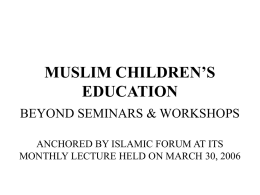 MUSLIM CHILDREN'S EDUCATION
