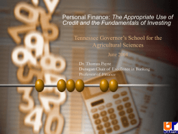 Personal Finance - TN Gov School for Ag Sciences