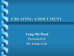 CREATING A DOCUMENT - University of North Texas