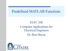Predefined MATLAB Functions