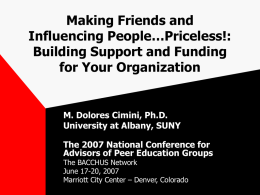Making Friends ad Influencing People…Priceless!: Building