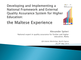 Quality Assurance within the NCFHE
