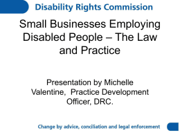 Small Businesses Employing Disabled People – The Law and