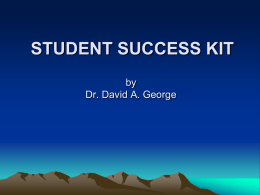 STUDENT SUCCESS KIT STUDENT GUIDE