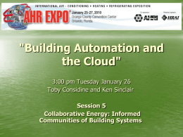 'Building Automation and the Cloud'