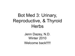 Bot Med 3: Urinary, Reproductive, & Thyroid Herbs
