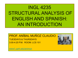 INGL 3245 STRUCTURAL ANALYSIS OF ENGLISH AND …