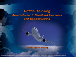 Critical Thinking An Introduction to Situational Awareness