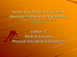Health and Physical Education Alternate Pathways