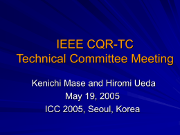 ICC2002 Technical Program Structure Collection of Symposia
