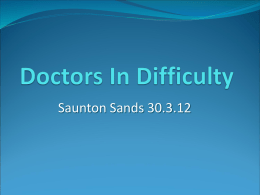 Doctors In Difficulty - South Bristol GP trainers workshop