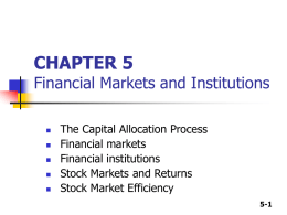 CHAPTER 4 The Financial Environment: Markets, Institutions