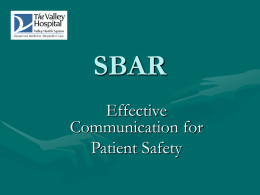 SBAR - Valley Health System